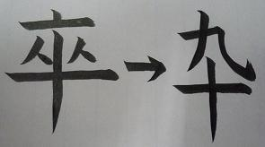 卒寿の『卒』とくずし字『卆』
